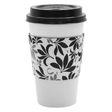 Traditional Cup Jackets - Fleur Black - 1,000 ct - CustomPaperCup.com Branded Restaurant Supplies