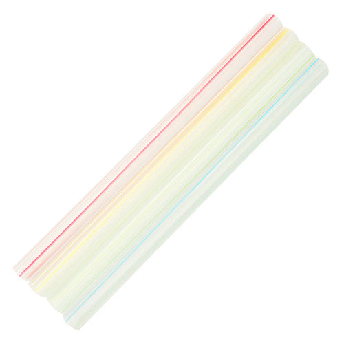 7.5'' Boba Straws (10mm) Flat Ends - Mixed Striped Colors - 4,500 ct - CustomPaperCup.com Branded Restaurant Supplies