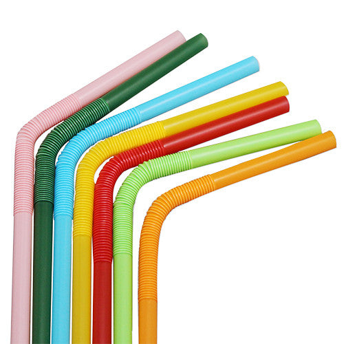 7.5'' - 13.5'' Flexible Jumbo Straws (5mm) - Mixed Colors - 4,000 ct - CustomPaperCup.com Branded Restaurant Supplies