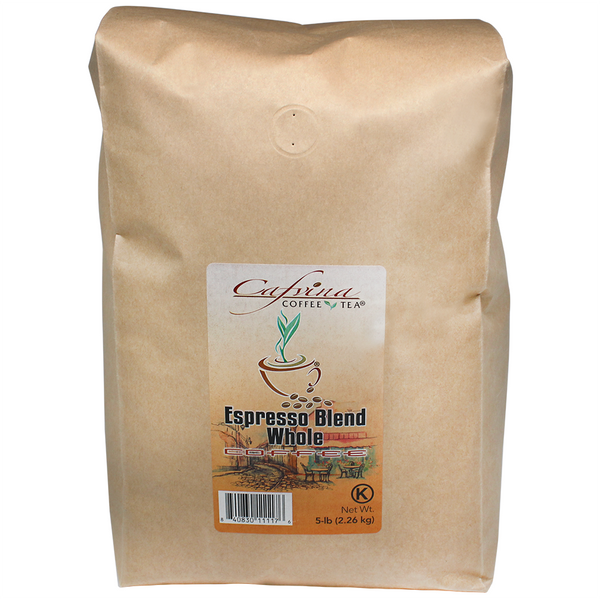Cafvina Espresso Blend - Whole Bean (5 lbs) - CustomPaperCup.com Branded Restaurant Supplies
