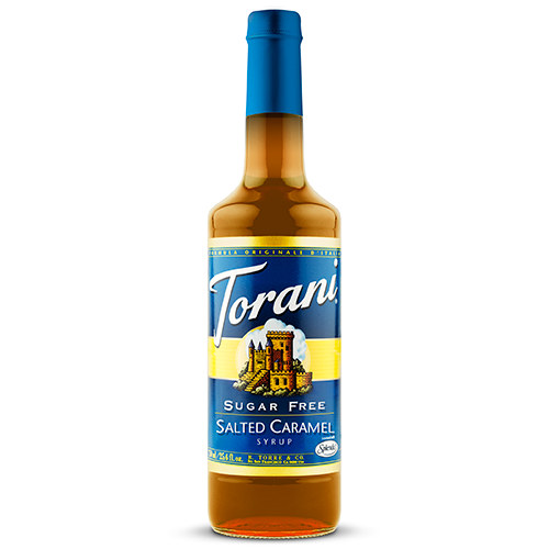 Torani Sugar Free Salted Caramel Syrup (750 mL) - CustomPaperCup.com Branded Restaurant Supplies