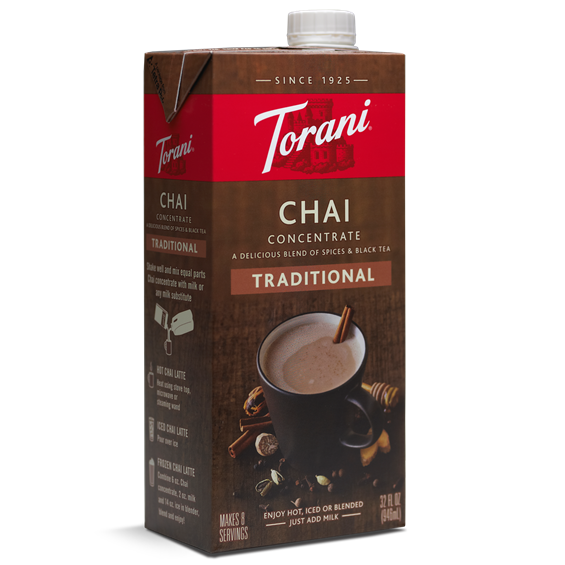 Torani Traditional Chai Concentrate (32oz) - CustomPaperCup.com Branded Restaurant Supplies