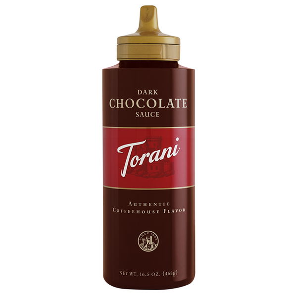 Torani Dark Chocolate Sauce Squeeze Bottle (16.5oz) - CustomPaperCup.com Branded Restaurant Supplies