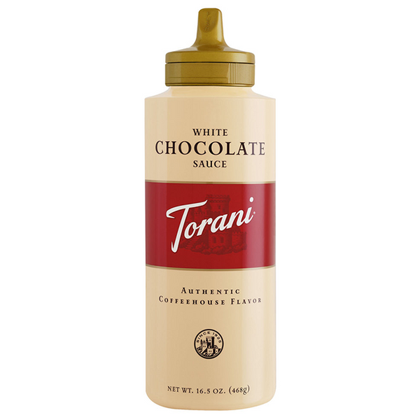 Torani White Chocolate Sauce Squeeze Bottle (16.5oz) - CustomPaperCup.com Branded Restaurant Supplies