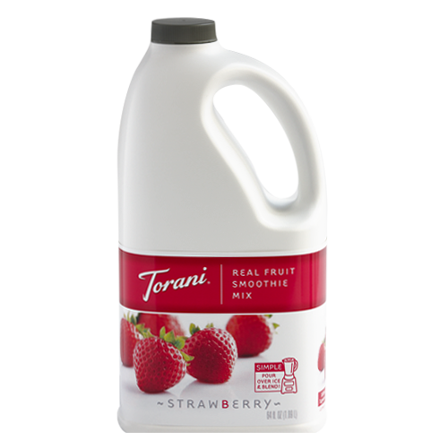 Torani Strawberry Real Fruit Smoothie Mix (64oz) - CustomPaperCup.com Branded Restaurant Supplies