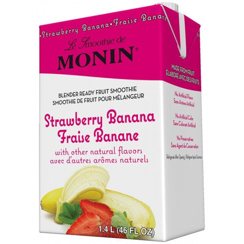 Monin Strawberry Banana Fruit Smoothie Mix (46oz) - CustomPaperCup.com Branded Restaurant Supplies