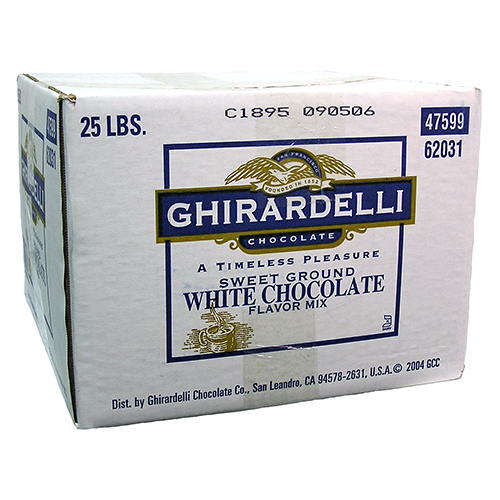 Ghirardelli Sweet Ground White Chocolate Flavored Powder (25 lbs) - CustomPaperCup.com Branded Restaurant Supplies