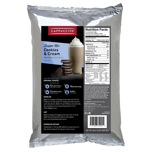 Cappuccine Cookies & Cream Frappe Mix (3 lbs) - CustomPaperCup.com Branded Restaurant Supplies