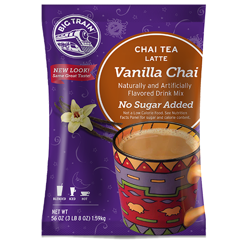 Big Train Vanilla Chai No Sugar Added Tea Latte Mix (3.5 lbs) - CustomPaperCup.com Branded Restaurant Supplies