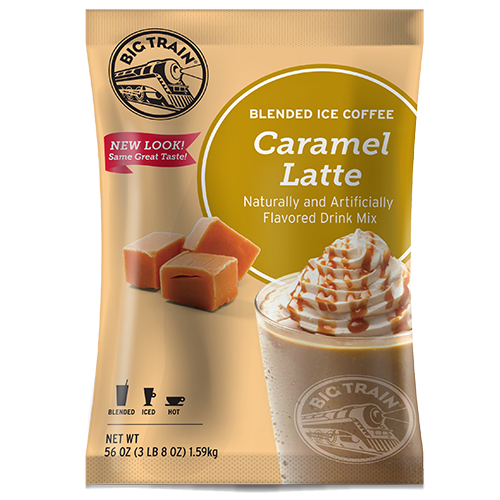 Big Train Caramel Latte Blended Ice Coffee Mix (3.5 lbs) - CustomPaperCup.com Branded Restaurant Supplies