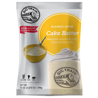 Big Train Cake Batter Blended Crème Frappé Mix (3.5 lbs) - CustomPaperCup.com Branded Restaurant Supplies