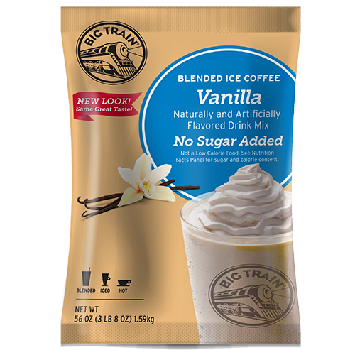 Big Train Vanilla Latte No Sugar Added Blended Ice Coffee Mix (3.5 lbs) - CustomPaperCup.com Branded Restaurant Supplies