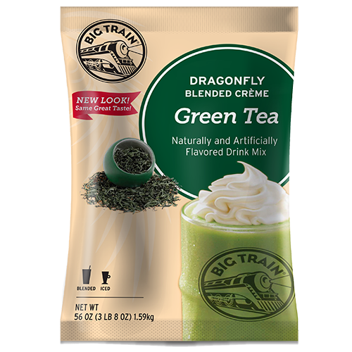 Big Train Dragonfly Green Tea Blended Crème Frappé Mix (3.5 lbs) - CustomPaperCup.com Branded Restaurant Supplies