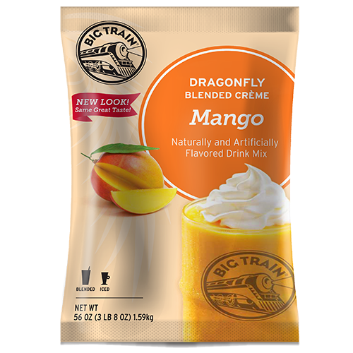 Big Train Dragonfly Mango Blended Crème Frappé Mix (3.5 lbs) - CustomPaperCup.com Branded Restaurant Supplies