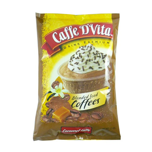 Caffe D'Vita Caramel Latte Blended Ice Coffee (3.5 lbs) - CustomPaperCup.com Branded Restaurant Supplies