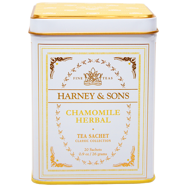 Harney & Sons Classic Chamomile Herbal Tea - 20 Sachet Tin - CustomPaperCup.com Branded Restaurant Supplies