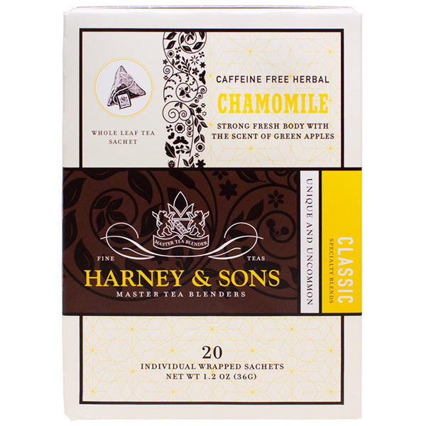 Harney & Sons Wrapped Chamomile Herbal Tea - 20 Sachet Box - CustomPaperCup.com Branded Restaurant Supplies