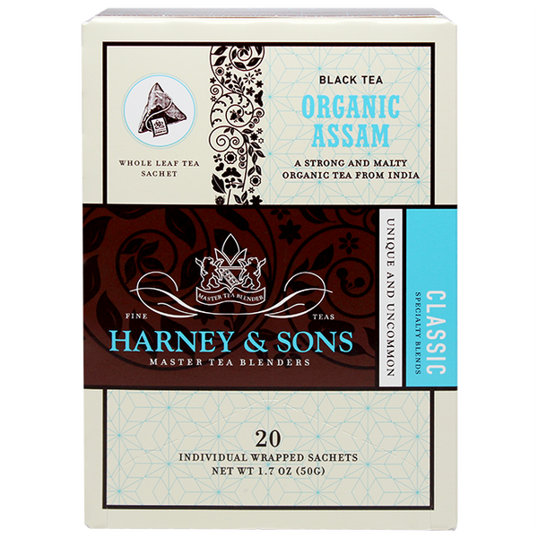 Harney & Sons Wrapped Organic Assam Tea - 20 Sachet Box - CustomPaperCup.com Branded Restaurant Supplies