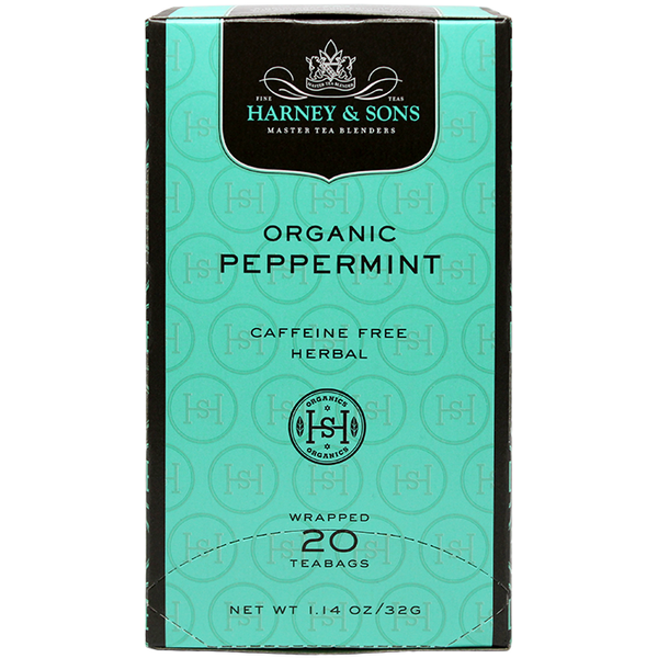 Harney & Sons Premium Organic Peppermint Herbal Tea - 20 Bag Box - CustomPaperCup.com Branded Restaurant Supplies