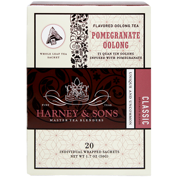 Harney & Sons Wrapped Pomegranate Oolong Tea - 20 Sachet Box - CustomPaperCup.com Branded Restaurant Supplies