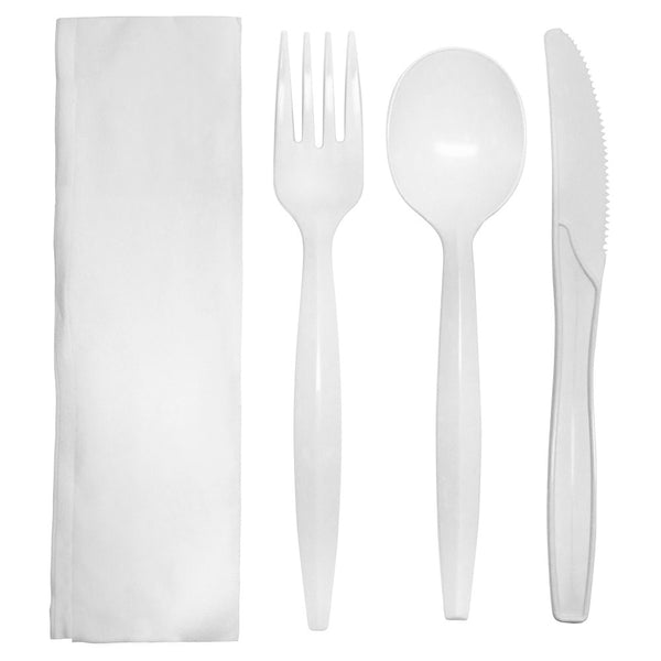 Karat PP Medium-Heavy Weight Cutlery Kits - White - 250 ct - CustomPaperCup.com Branded Restaurant Supplies
