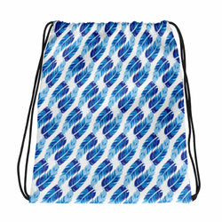 Blue Feathers Drawstring bag