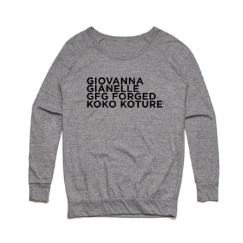 Giovanna Wheels Stacked Logo - Womens Slouchy Crew