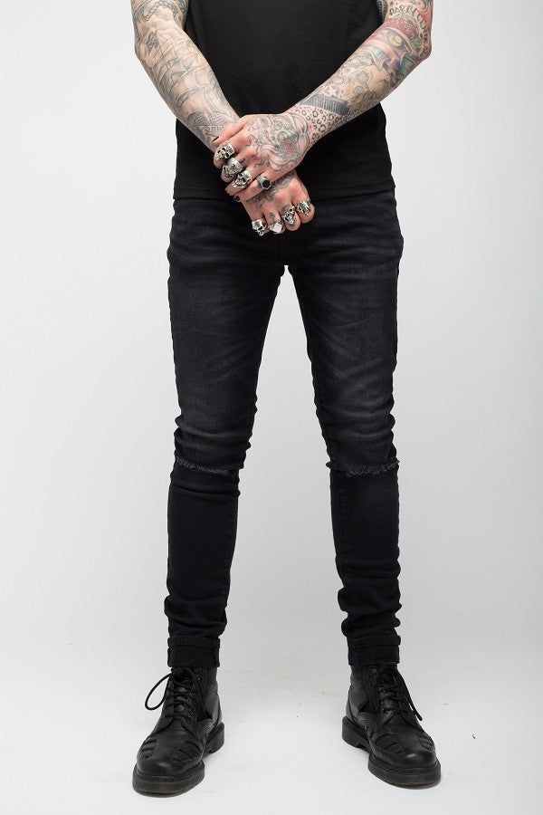 Roadies of 66 - Rebels & Outlaws distressed skinnies in washed black
