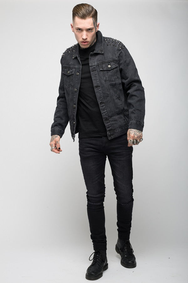 Roadies of 66 - Punk studded denim jacket in washed black