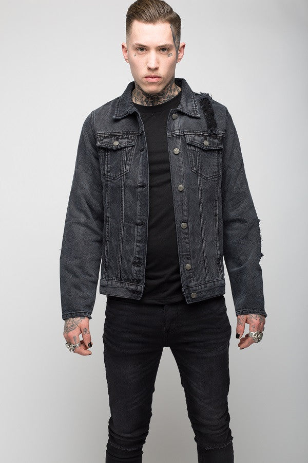 Roadies of 66 - Harley denim jacket with zips & distessing