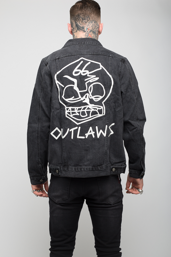 Roadies of 66 - Outlaws of 66 painted denim jacket