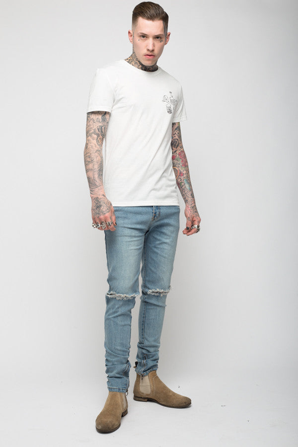 Roadies of 66 - Destroyer stonewash skinny jeans with ankle zip