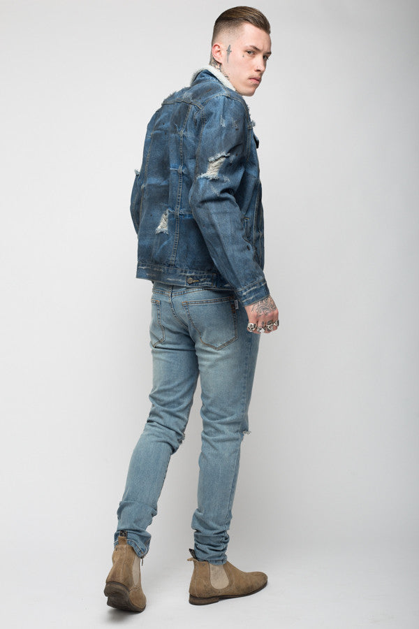 Roadies of 66 - Convict distressed and painted denim jacket with borg collar