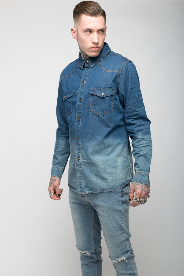 Roadies of 66 - Convict dip dyed indigo denim shirt