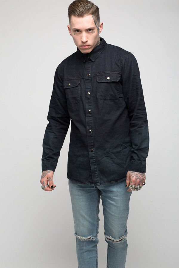Roadies of 66 - Convict dip dyed washed black denim shirt