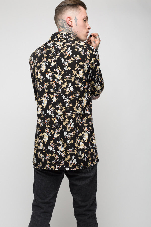 Roadies of 66 - Mobster Mustard Floral printed revere collar shirt