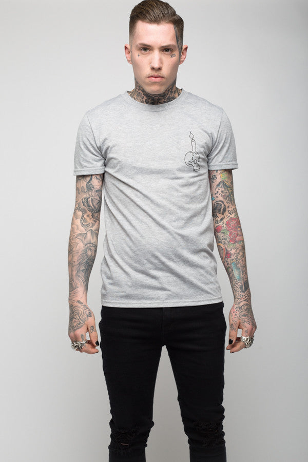 Roadies of 66 - Candle of death grey marl tee