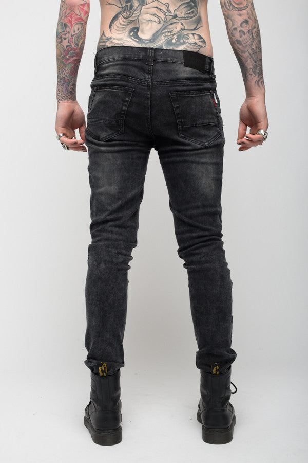 Roadies of 66 - Riot skinny jeans in acid wash black with distressing