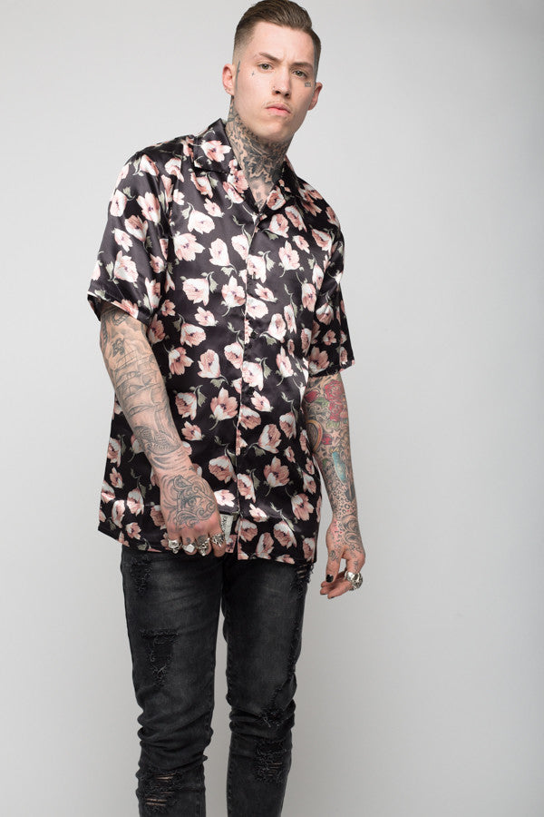 Roadies of 66 - Mobster Chi floral satin printed shirt