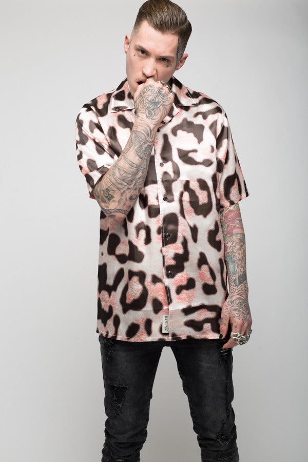 Roadies of 66 - Mobster Chi leopard print satin shirt