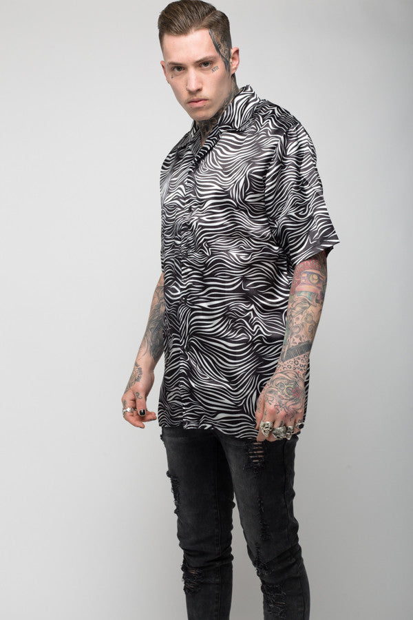 Roadies of 66 - Mobster Mono print satin shirt