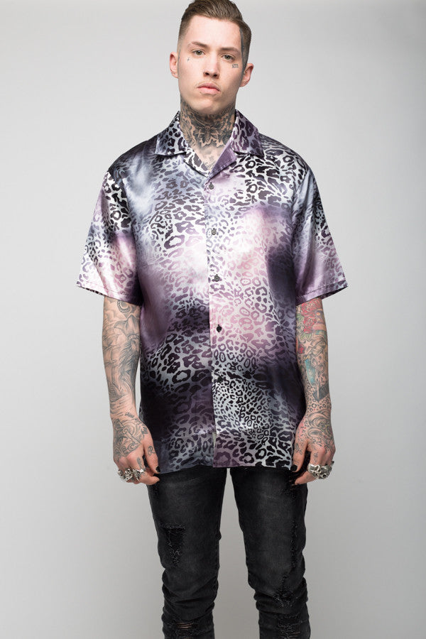 Roadies of 66 - Mobster Hombre Leopard print satin shirt