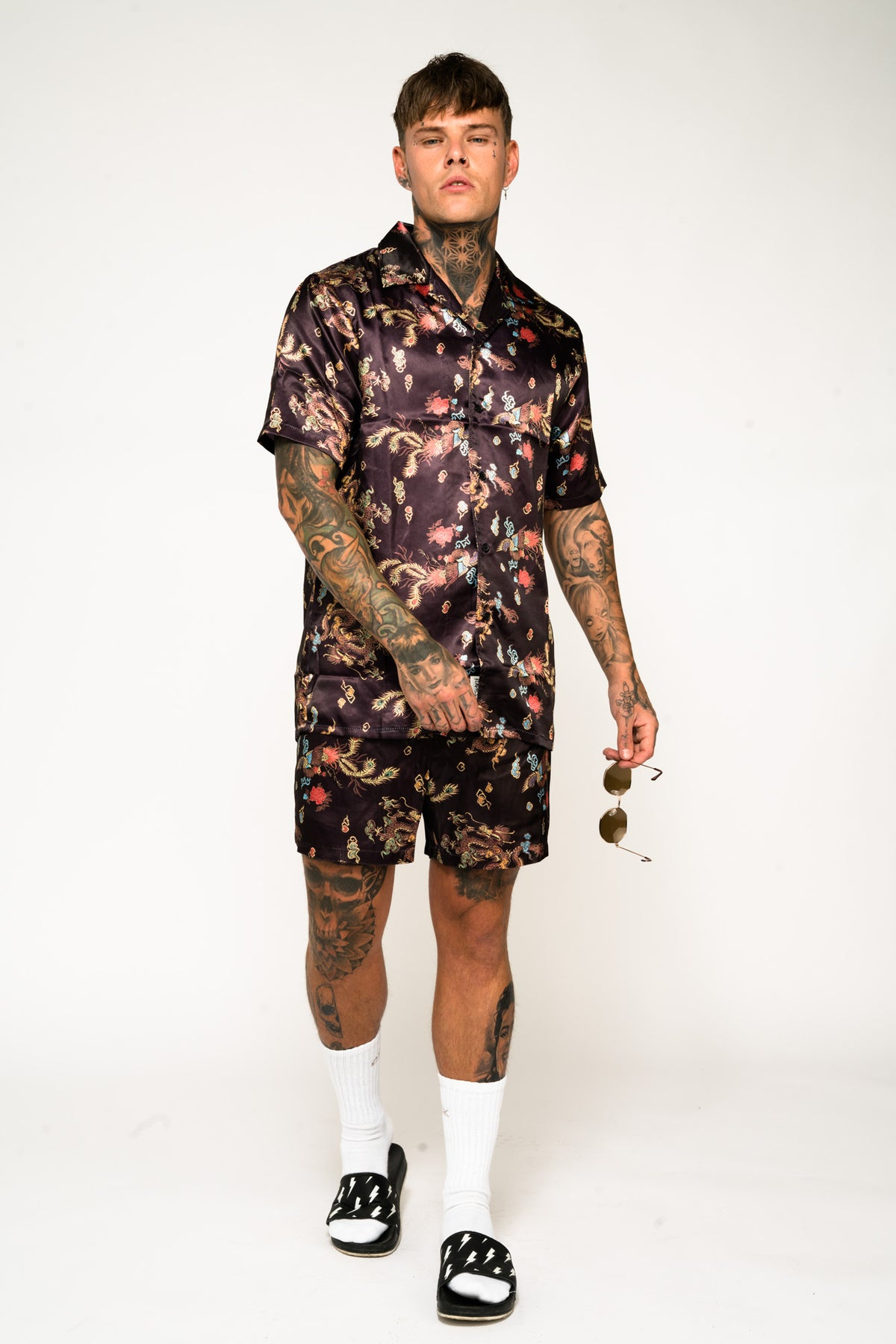 Roadies of 66 - Chinoiserie Print Revere Collar Shorts