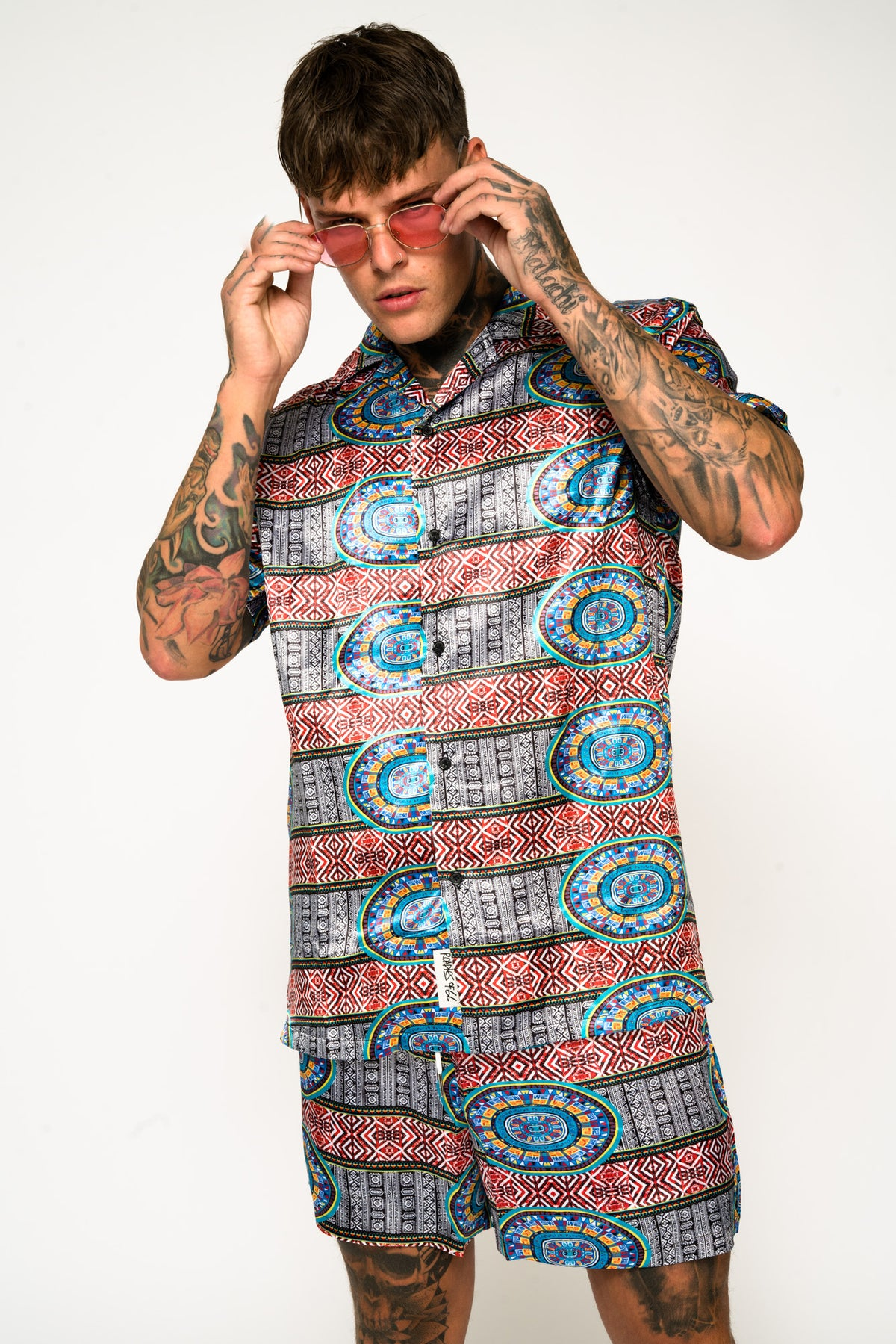 Roadies of 66 - Aztec Print Revere Collar Shirt
