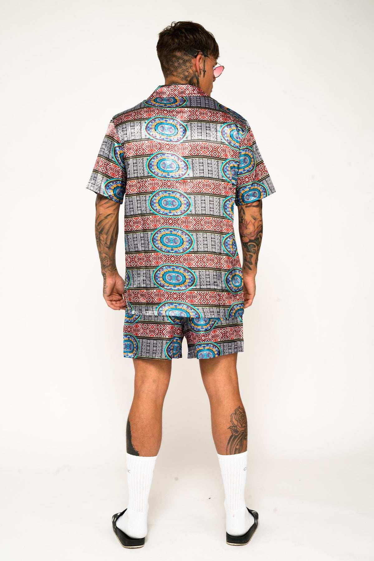 Roadies of 66 - Aztec Print Revere Collar Shorts
