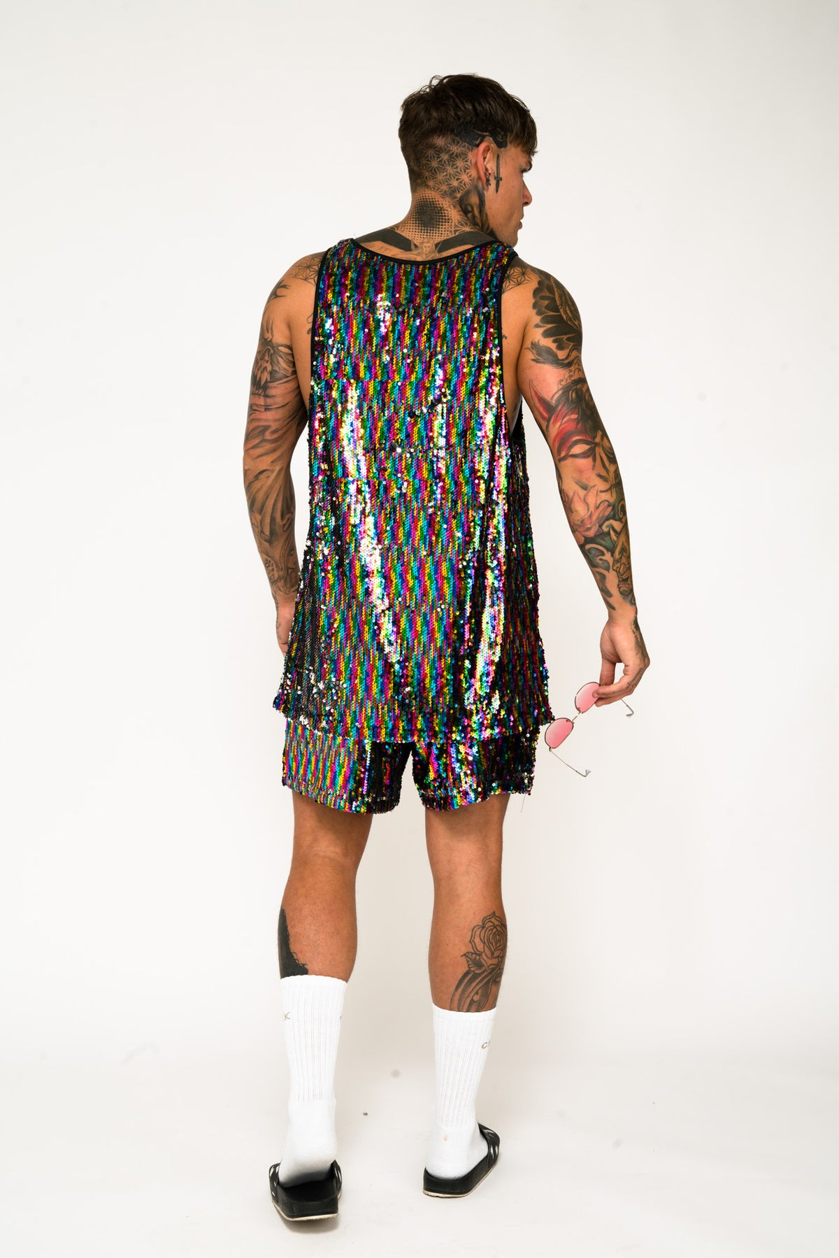 Roadies of 66 Oversized Rainbow Sequin Shorts