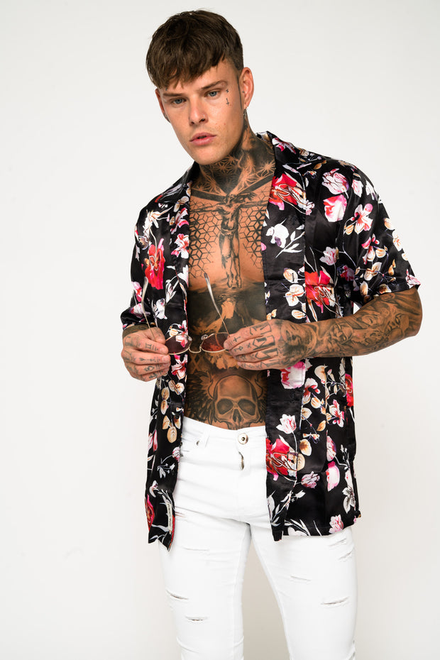 Roadies of 66 - Floral Print Revere Collar Shirt