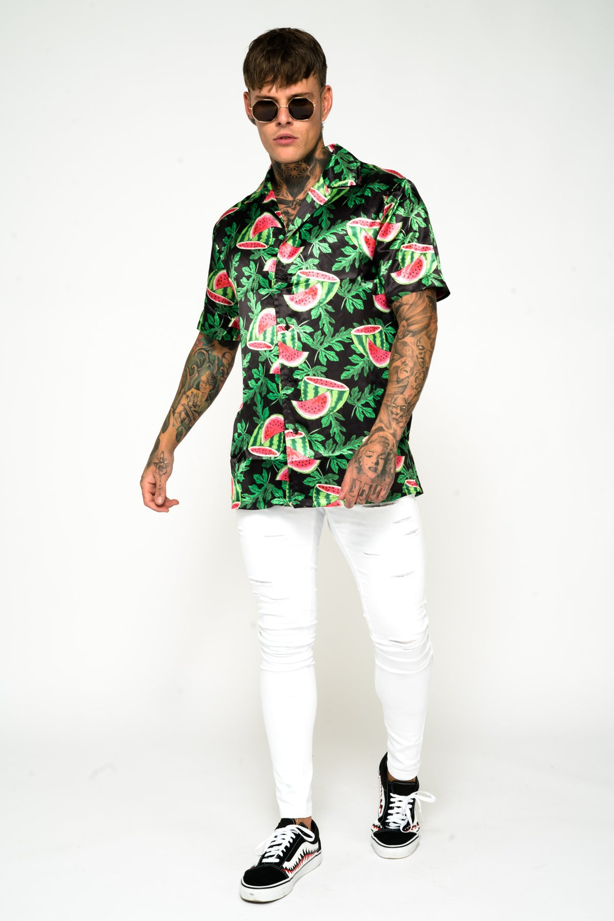 Roadies of 66 - Watermelon Print Revere Collar Shirt