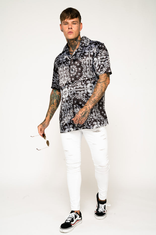 Roadies of 66 - Bandana Print Revere Collar Shirt