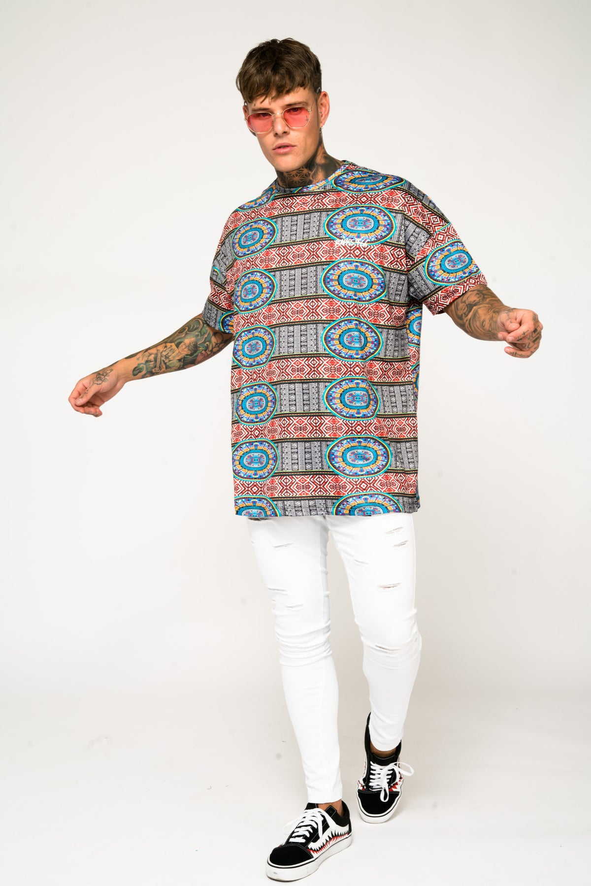 Roadies of 66 - Oversized Aztec Print T - Shirt